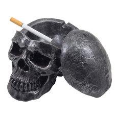 Human Skull Ashtray With Cover
