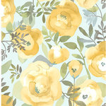 NuWallpaper - Peachy Keen Yellow Peel & Stick Wallpaper Swatch Sample - Create a dreamy and romantic look with this vintage-inspired peel and stick wallpaper. In a watercolor style, mustard and yellow flowers flutter about curling leaves and an icy seafoam background. Peachy Keen Yellow Peel and Stick Wallpaper comes on one roll that measures 20.5 inches wide by 18 feet long. Vintage inspired floral pattern; Peel and stick to apply, pull up to remove; NuWallpaper is safe for walls and leaves no sticky residue behind; Easily repositionable while installing; NuWallpaper sticks to any smooth, flat surface - perfect for DIY projects; Ideal for rental or home decorating;Comes on a 20.5-in x 18-ft roll and covers about 30.75 sq. ft;Design repeat of 21-in;This product should NOT be applied to textured walls - smooth clean, dry, painted surface only (no Non-Stick paint or soap residue).