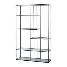 81-inch T Caterina Bookcase Slender Black Metal Framework Solid Glass Shelving