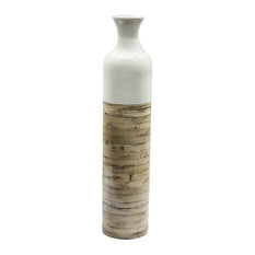 "Talia 32"" Spun Bamboo Bottle Vase, White Lacquer and Natural Bamboo"