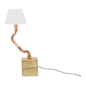 Wood Base Copper Pipe Table Lamp, 1 Bulb