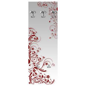 Modern Flowers Wall Coat Rack, Red