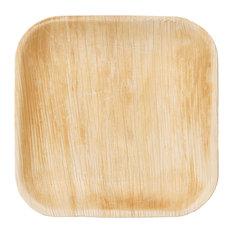 "Frondware 7"" Palm Leaf Square Disposable Plates, Set of 25"