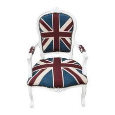 Louis XVI French Beechwood Armchair, Union Jack