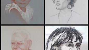 Portrait dessiné au fusain ou à la sanguine sur commande d'après photo