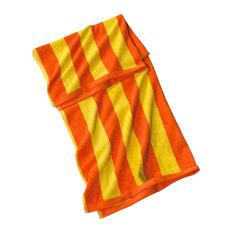 "Jumbo Turkish Cotton Cabana Beach Towel, Orange, 35""x70"", 2 Tones Cabana Stripes"