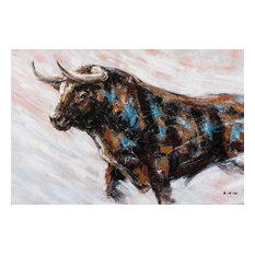 """Charging Bull Hand Painted Oil"" Canvas Artwork, 48""x36"""