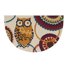 "Everywhere Owl Accent Rug, Cream, 1'7""x2'8"""