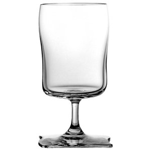 Wavy Square Lead Crystal Wine Glasses, Set of 6