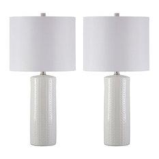 "Steuben White 25"" Ceramic Table Lamp Set of 2"