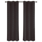 """Royal Tradition - Willow Thermal Blackout Curtains With Grommets, Set of 2, Charcoal, 84""""x63"""" - Add splendor and classiness to any room with these dazzling jacquard panels. The stylish geometric pattern of these floor-length curtains conveys a refined and classic look to your home. Containing a pole pocket design, these jacquard curtains are well-suited with traditional curtain rods, allowing you to change your room easily. This trendy and functional curtain panel pair is thermal-insulated, blocks out the glaring sunlight during the hot summer months, and keeps cold drafts adrift. Block unwanted light and protect your room against outside temperatures with these thermal blackout curtains. These energy saving curtains are both beautiful and practical. The simple, attractive styling complements any decor, and the grommet top offers easy installation. Slip a decorative rod through the grommets to quickly create a classic gathered look. The curtains are machine washable for easy care."""