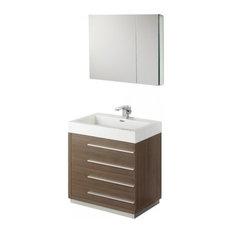 "Fresca Livello 30"" Gray Oak Modern Bathroom Vanity With Medicine Cabinet"