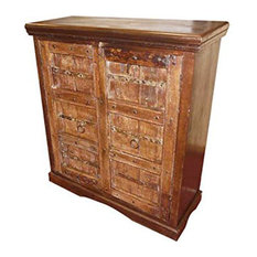 Mogul Interior - Antique Doors rustic teak Wood Sideboard Furniture Console Cabinet - Buffets And Sideboards