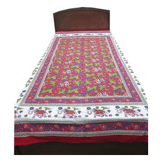 Mogul Interior - Boho Indi Printed Tapestry Bedding Bedsheet Cotton Indian Bedspread Twin - Quilts And Quilt Sets