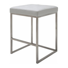 Chi Counter Stool In Brushed Stainless Steel , White