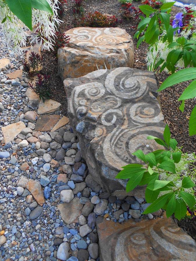 """Rock Garden Landscape Sculptuire """"Fiddlehead Fern"""" benches"""