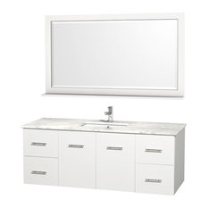 "Centra 60"" Vanity Square Porcelain Sinks Matte White White Carrera Marble Single"