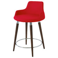 Dervish Wood Stools, Solid Beech Walnut Color Base, Cany Apple Red Camira Wool