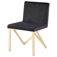 Talbot Gold Dining Chair, Armless Gold Side Chair, Black Velour Fabric