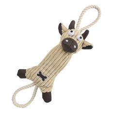 Jute And Rope Plush Cow Pet Toy, Brown