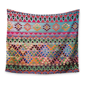 68 X 80 Kess InHouse Nandita Singh Flowers and Twigs Tan Orange Wall Tapestry