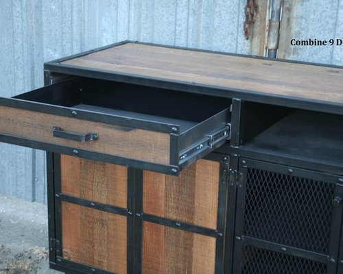Vintage Industrial Style Media Console/Credenza. Reclaimed