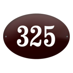 "Number ""325"" Enamelled Plaque, Bordeaux Red, Without Border"