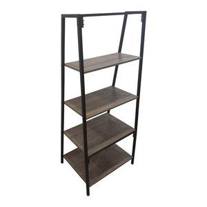 Beau Industrial 4 Shelf A-Frame Faux Wood Bookcase, Gray/Black