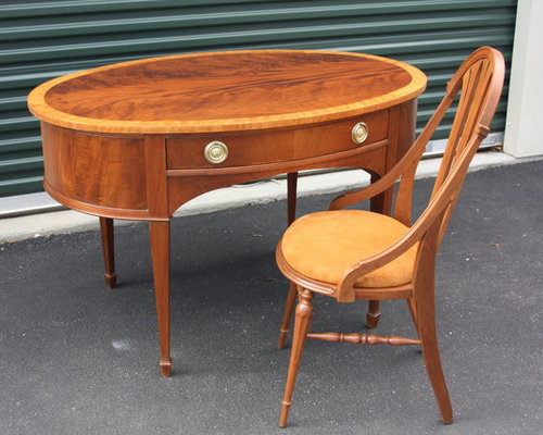 vintage oval art deco desk with chair 1920s art deco office chair