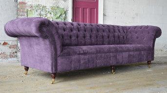 Handmade Bespoke 4 Seater Aubergine Velvet Chesterfield Sofa