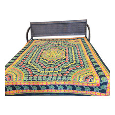 mogulinterior - India Inspired Bedding, Elephant Printed, Yellow Green, Cotton - Sheet And Pillowcase Sets