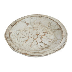 Painted Round Rustic Wooden Dough Bowl, Pure White, Round