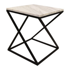 Three Hands Corp Metal And Marble Accent Table Side Tables End