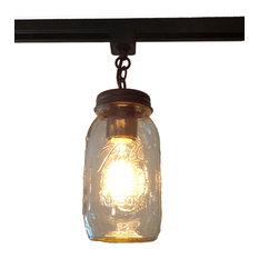 Most popular farmhouse track lighting for 2018 houzz the lamp goods mason jar track lighting single new quart rubbed bronze track aloadofball Images
