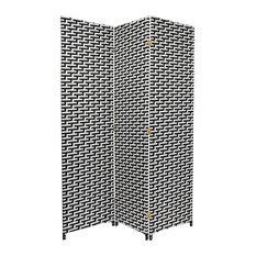6' Tall Woven Fiber Room Divider, Black/White, 3 Panel