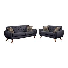 Linen-Like 2 Piece Sofa and Loveseat Set, Ash Black
