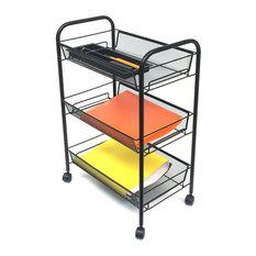 Mind Reader LLC   Mind Reader Rolling Metal Mesh 3 Shelf Cart, Silver    Office