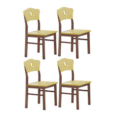 Yellow and Chocolate Wood Kitchen Dinette Side Dining Chairs, Set of 4