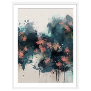 """Summer Nights"" Floral Art Print, White Framed, 40x50 cm"