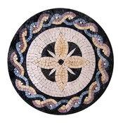 "Hand-Cut Tile Art, Orchid Medallion, 24""x24"""