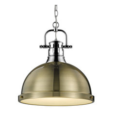 Duncan 1 Light Pendant With Chain, Chrome With Aged Brass