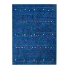 Rugsotic Carpets Knotted Gabbeh Silk 5'x8'  Area Rug Contemporary Blue LS0585