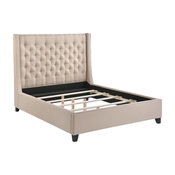 LuXeo Huntington Queen Tufted Upholstered Bed, Sand