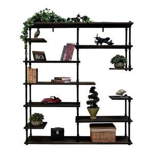 Nashville Industrial Mid-Century Etagere Bookcase, Black Steel/Dark Brown