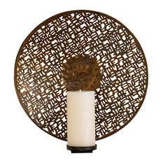 Global Views Etched Br Bronze Metal Wall Candle Sconce Round Abstract Holder