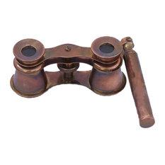 Scout's Antique Copper Binocular With Handle 4'', Decorative Binoculars