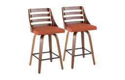 Trevi Mid-Century Modern Counter Stool, Orange Fabric, Set of 2