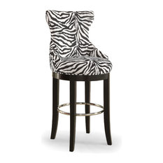 Peace and Zebra-print Patterned Fabric Bar Stool