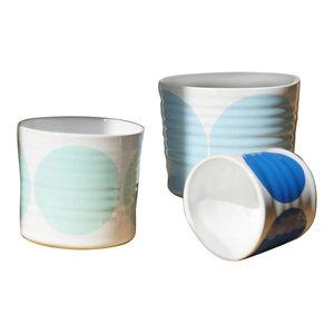 Spots Decorative Jars, Set of 3, Aqua, Turquoise and Blue