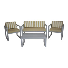 Outdoor 4-Piece Munich Furniture Set With 2-Seater Sofa, Silver